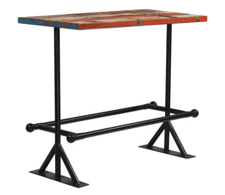 vidaXL Table de bar Bois massif recyclé Multicolore 120 x 60 x 107 cm[7/13]