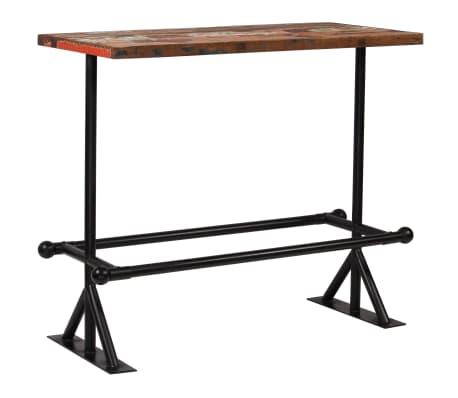 vidaXL Table de bar Bois massif recyclé Multicolore 120 x 60 x 107 cm[8/13]