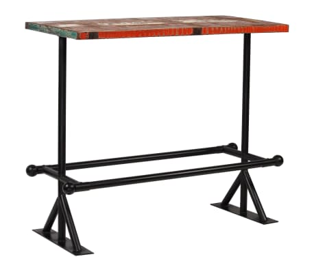 vidaXL Table de bar Bois massif recyclé Multicolore 120 x 60 x 107 cm[9/13]
