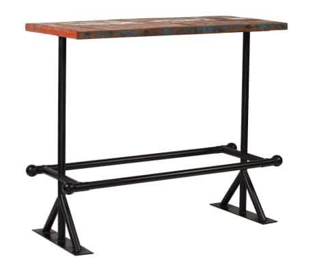 vidaXL Table de bar Bois massif recyclé Multicolore 120 x 60 x 107 cm[10/13]