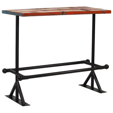 vidaXL Table de bar Bois massif recyclé Multicolore 120 x 60 x 107 cm[11/13]