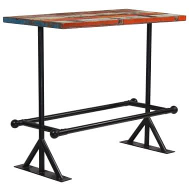vidaXL Table de bar Bois massif recyclé Multicolore 120 x 60 x 107 cm[12/13]