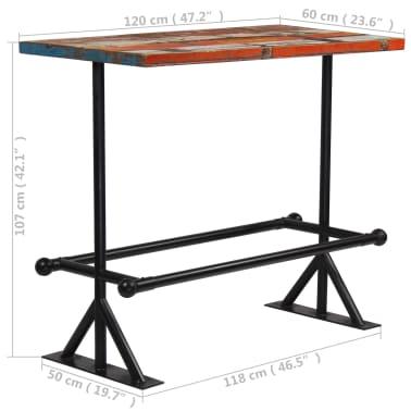 vidaXL Table de bar Bois massif recyclé Multicolore 120 x 60 x 107 cm[13/13]