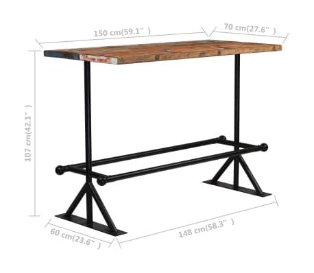vidaXL Baro stalas, perdirbta mediena, įvairių spalvų, 150x70x107cm[5/10]