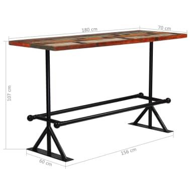 vidaXL Barový stůl masivní recyklované dřevo 180x70x107 cm vícebarevné [12/12]