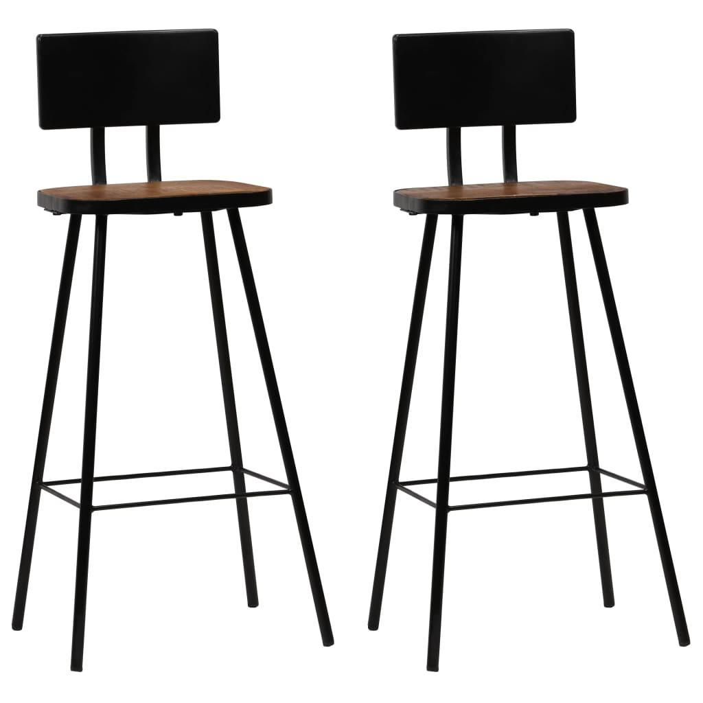 vidaXL Barové jídelní židle 2 ks masivní recyklované dřevo tmavě hnědé