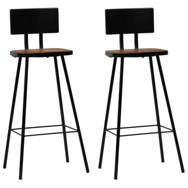 vidaXL Cadeiras de bar 2 pcs madeira recuperada maciça castanho escuro[1/14]
