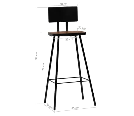 vidaXL Chaise de bar 2 pcs Bois massif de récupération Marron foncé[14/14]