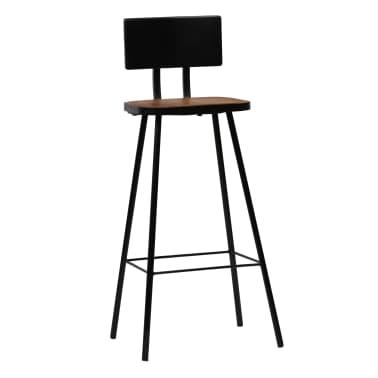 vidaXL Cadeiras de bar 2 pcs madeira recuperada maciça castanho escuro[10/14]