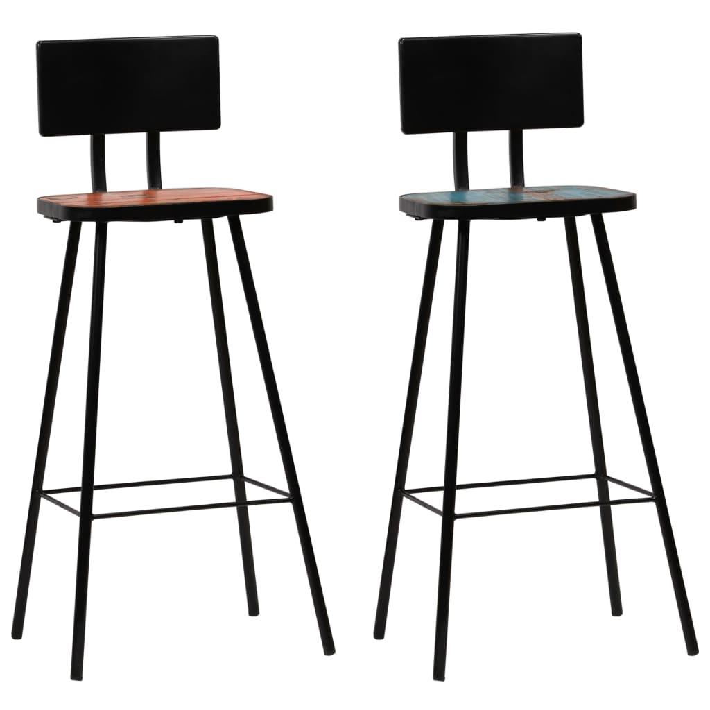 vidaXL Krzesła barowe, 2 szt., lite drewno z odzysku