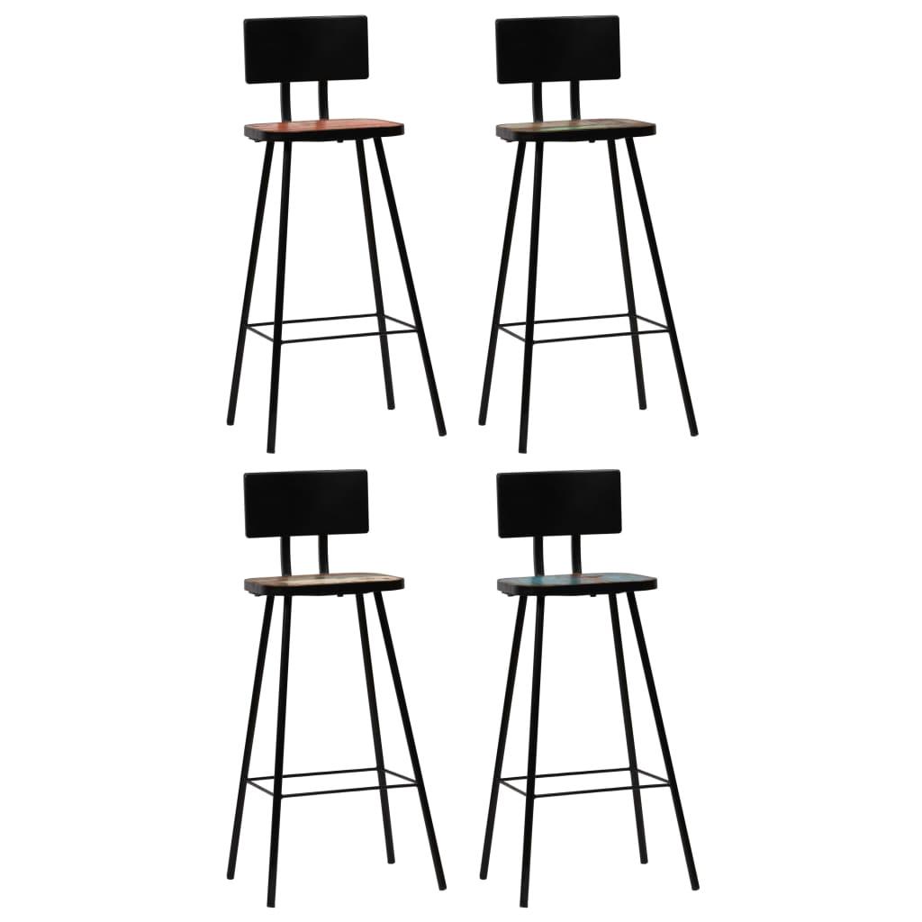 vidaXL Καρέκλες Μπαρ 4 τεμ. Πολύχρωμες από Μασίφ Ανακυκλωμένο Ξύλο