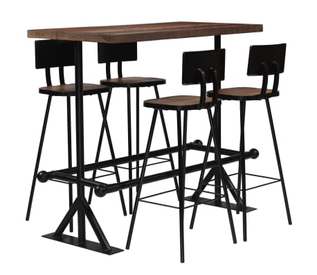 vidaXL Bar Set 5 Piece Solid Reclaimed Wood