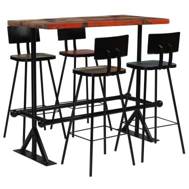 vidaXL Baro baldų komplektas, 5d., perdirbta mediena, įvairiaspalvis[1/21]