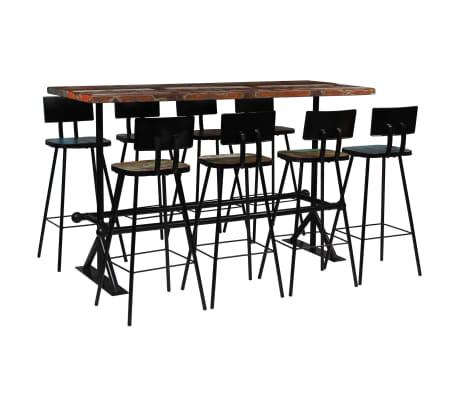 vidaXL Baro baldų komplektas, 9d., perdirbta mediena, įvairių spalvų