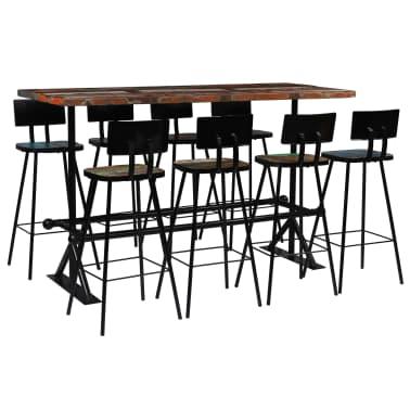 vidaXL Baro baldų komplektas, 9d., perdirbta mediena, įvairių spalvų[1/21]