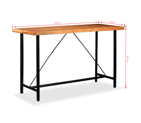 vidaXL Table de bar Bois massif de Sesham 180 x 70 x 107 cm[14/14]