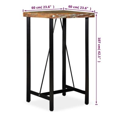 """vidaXL Bar Table Solid Reclaimed Wood 23.6""""x23.6""""x42.1""""[11/11]"""