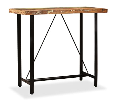 vidaXL Stolik barowy z litego drewna odzyskanego, 120 x 60 x 107 cm
