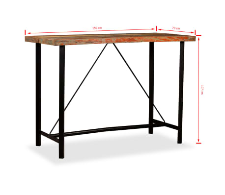 "vidaXL Bar Table Solid Reclaimed Wood 59""x27.6""x42.1""[13/13]"