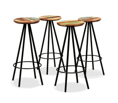 vidaXL Bar Stools 4 pcs Solid Reclaimed Wood