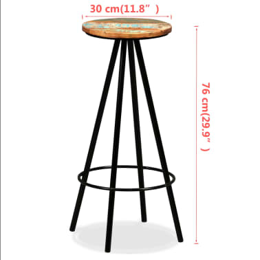 vidaXL Scaune de bar, 4 buc., lemn masiv reciclat[16/16]