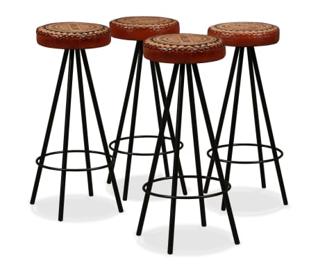 vidaXL Bar Stools 4 pcs Real Leather[1/15]