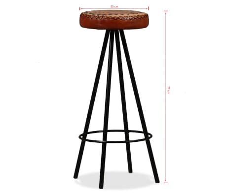 vidaXL Bar Stools 4 pcs Real Leather[15/15]