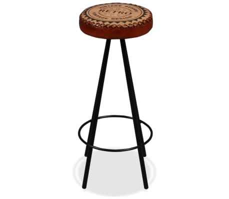 vidaXL Bar Stools 4 pcs Real Leather[4/15]