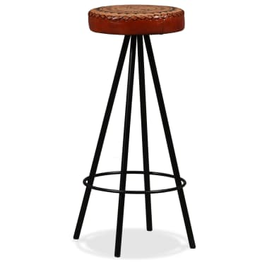 vidaXL Bar Stools 4 pcs Real Leather[2/15]