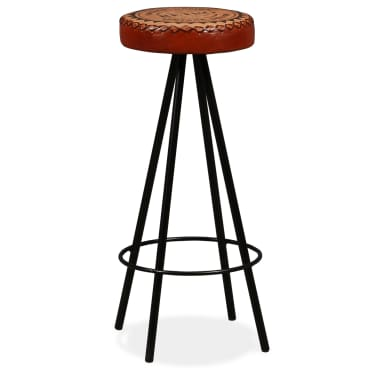 vidaXL Bar Stools 4 pcs Real Leather[11/15]