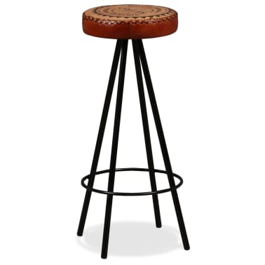 vidaXL Bar Stools 4 pcs Real Leather[12/15]