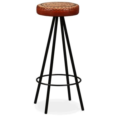 vidaXL Bar Stools 4 pcs Real Leather[13/15]