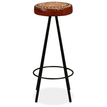 vidaXL Bar Stools 4 pcs Real Leather[3/15]