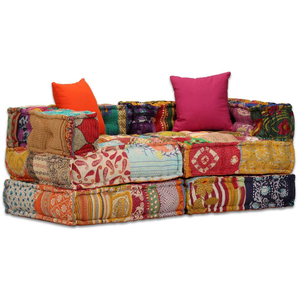 vidaXL Modułowa sofa patchworkowa, 2-osobowa
