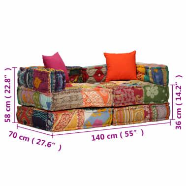 acheter vidaxl canap lit modulaire 2 places tissu patchwork pas cher. Black Bedroom Furniture Sets. Home Design Ideas