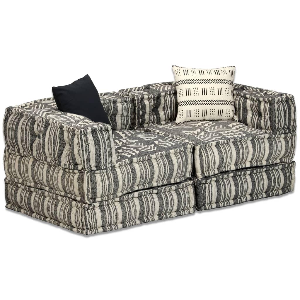 vidaXL 2místný modulární pouf šedý pruhovaný textil