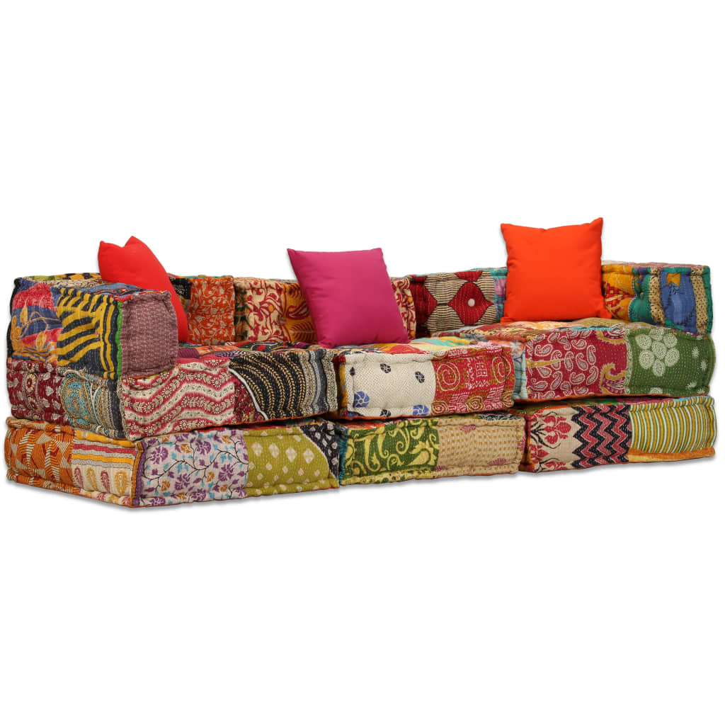 vidaXL 3místný modulární pouf patchwork textil