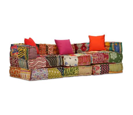 vidaXL Sofá-cama modular de 3 lugares em retalhos
