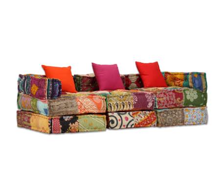 acheter vidaxl canap lit modulaire 3 places tissu patchwork pas cher. Black Bedroom Furniture Sets. Home Design Ideas