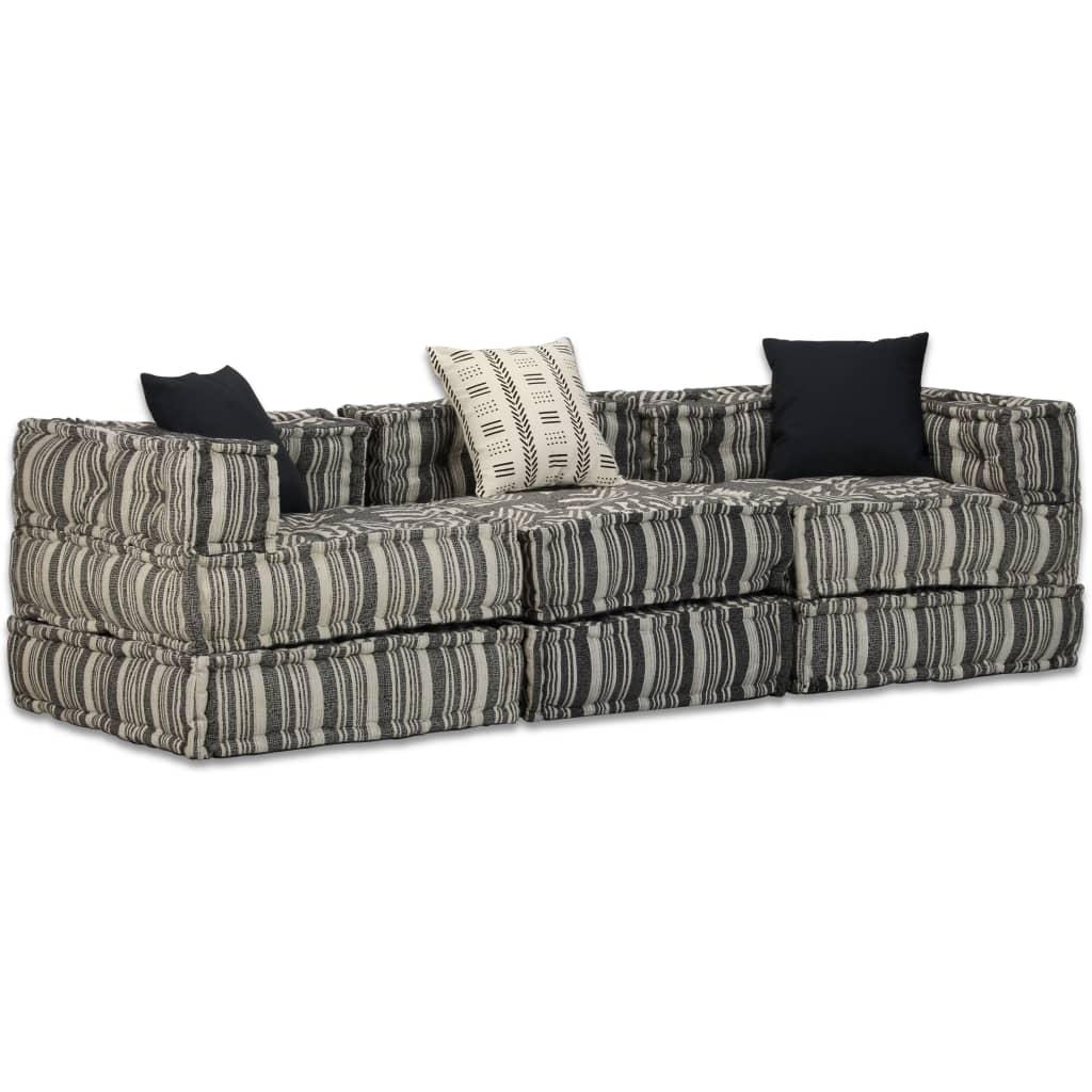 vidaXL 3-osobowa, rozkładana sofa modułowa, tkanina w paski