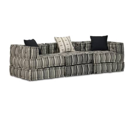 vidaXL Trivietė modulinė sofa lova, audinys, dryžuota[1/14]