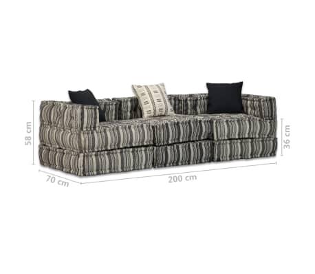 vidaXL Trivietė modulinė sofa lova, audinys, dryžuota[14/14]