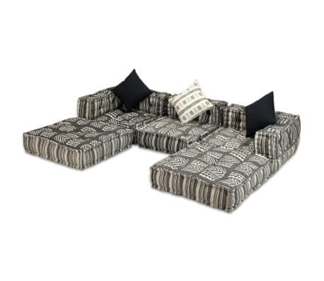 vidaXL Trivietė modulinė sofa lova, audinys, dryžuota[3/14]