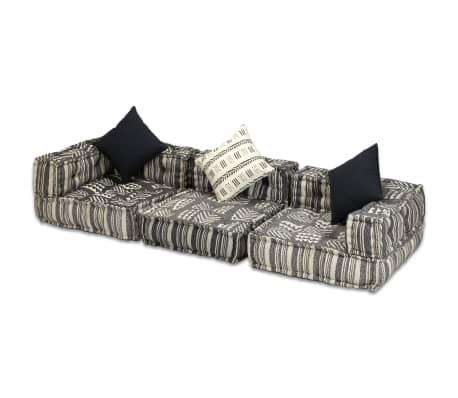 vidaXL Trivietė modulinė sofa lova, audinys, dryžuota[4/14]