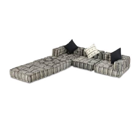 vidaXL Trivietė modulinė sofa lova, audinys, dryžuota[5/14]
