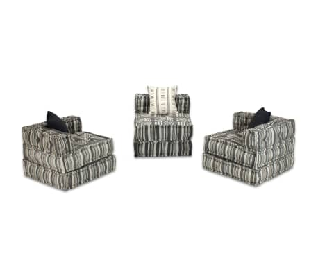 vidaXL Trivietė modulinė sofa lova, audinys, dryžuota[9/14]