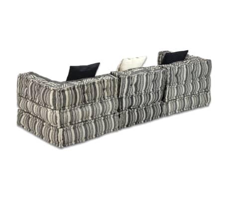 vidaXL Trivietė modulinė sofa lova, audinys, dryžuota[10/14]