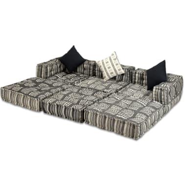 vidaXL Trivietė modulinė sofa lova, audinys, dryžuota[2/14]