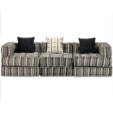 vidaXL Trivietė modulinė sofa lova, audinys, dryžuota[8/14]