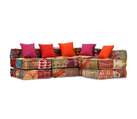vidaXL 4-vietė modulinė sofa lova, skiautinis audinys